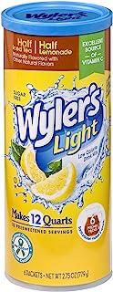 Wyler's Light Canister Drink Mix - Half Iced Tea Half Lemonade Water Powder Enhancer Canister (6 Canisters that make 12 Qu...