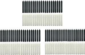 Clarity & Muse 120 支铃铛蜡烛套装(60 黑色,60 白色) - 蜡,无香型