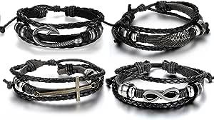 Aroncent Infinity 手链皮革腕带十字架翼鱼钩黑色 4 件 8.5-10.5 英寸