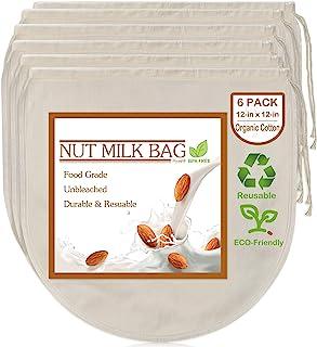 6 包 12 英寸 x 12 英寸(约 30.5 厘米 x 30.5 厘米)坚果牛奶袋 - * 未漂白*棉芝士布,可重复使用的食物滤网,用于过滤杏仁/燕麦牛奶、芹菜汁、冷酿咖啡、酸奶和奶酪