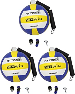Skywin 排球钉训练器 - 3 件装排球训练设备改善钉刺、上菜和手臂挥杆 - 可轻松连接到篮球目标、天花板、高钩子