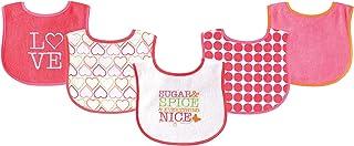 Luvable Friends 美国熊宝宝婴儿5件装防水口水巾 02189粉红色甲虫图案