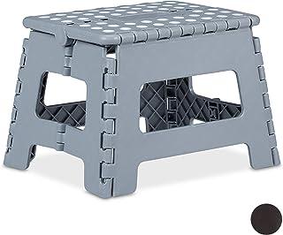 Relaxdays 折叠凳 M 可折叠 便携式 旅行踏凳 儿童浴室凳 承重 120 千克 塑料 22 厘米 浅灰色