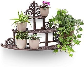 Relaxdays Flower Steps 花卉和花盆的小型铸铁花架,3层乡村风格的花园装饰,铜制