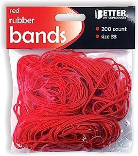 200 个红色橡皮筋,Better Office Products,尺寸 33,200/Bag,亮红色橡胶带