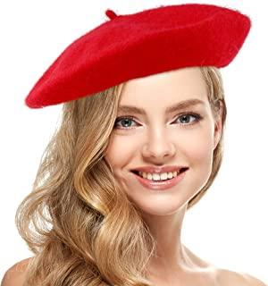Skeleteen 红色法式贝雷帽 - 女式经典贝雷帽休闲使用 - 1 件