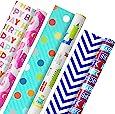 Hallmark 双面儿童生日包装纸,怪物和独角兽(3 件装,120 平方英尺)