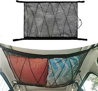 汽车天花板货物网袋,35.4 英寸 x 25.5 英寸(约 89.9 厘米 x 64.8 厘米)长旅行露营网眼储物袋,帐篷把被子儿童玩具毛巾太阳布,汽车内饰屋顶收纳网,适用于 SUV 卡车 Vans