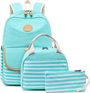 BLUBOON 帆布书包学生背包笔记本电脑书包青少年女孩高中 Stripe Blue-8893 17 x 13 x 6.3 inches
