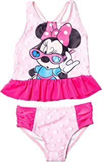 Disney Minnie Mouse 女童工字背心荷叶边分体泳衣套装