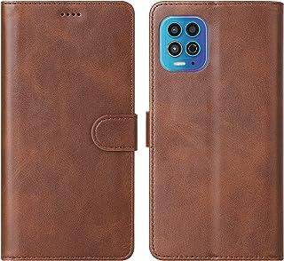 Cresee 适用于摩托罗拉 Moto G100 手机壳,PU 皮革钱包翻盖保护套 [3 个卡槽 1 个钱袋] [磁扣] [支架] Moto G100 对开式手机壳 - 棕色