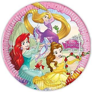 Procos 93431 – 派对餐盘 Princess Dreaming 尺寸 23 厘米 8 件 一次性纸制 儿童生日派对餐具 FSC