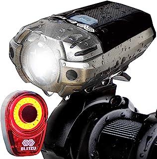 BLITZU Gator 390 USB 可充电 LED 自行车灯套装,自行车前灯和免费后尾灯。 防水,易于安装,适合儿童男士女士骑行*通勤手电筒