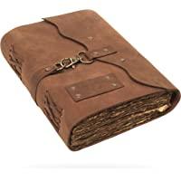 VIMOKSHA 高级手工真皮日记,带搭扣开合 - 复古手工甲板边缘纸皮革装订日常记事本,艺术素描本的*佳礼物 - 尺寸…