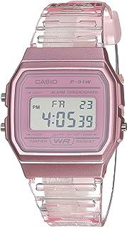 Casio 卡西欧石英手表树脂表带,粉色,20(型号:F-91WS-4CF)
