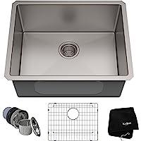 美国Kraus 克劳思1.5mm厚304不锈钢拉丝单盆厨房水槽 手工制作 台下式安装 KHU101-23 配304不锈钢…
