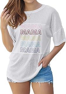 Nlife 女士妈妈多色印花白色 T 恤短袖衬衫上衣