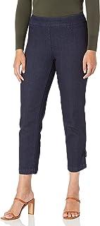 SLIM-SATION 女式加大码宽带套穿式七分裤,带 Bows@ 下摆开衩