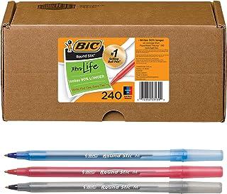 BIC 圆形Stic Xtra Life圆珠笔,中号笔尖(1.0mm),黑色/红色/蓝色-盒装240支各色圆珠笔