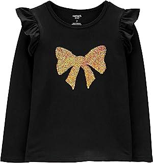 Carter's 女孩金色翻盖亮片蝴蝶结长袖褶皱肩部运动衫黑色 T 恤非常适合节日穿着 4 码