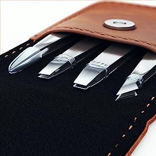 专业镊子套装 - 4 件套精密不锈钢眉毛套装,含 PU 皮革旅行盒 - 非常适合面部*、发夹、生长*、发夹、发卡、黑头和眼棕色