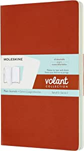 Moleskine Volant 日记,软封面,大号(12.7 cm x 20.32 cm)纯色/空白,浅蓝色 普通 大 Coral Orange/Aqua Blue