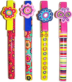 Inkology Blissful Garden 圆珠笔,2 支装,带笔夹,中号笔尖,黑色墨水,各种设计 - 每包 6 支 2 支(692-3)