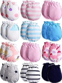 12 双装新生儿棉质手套中性款婴儿幼儿无划痕连指手套适用于 0-6 个月婴儿男孩和女孩。