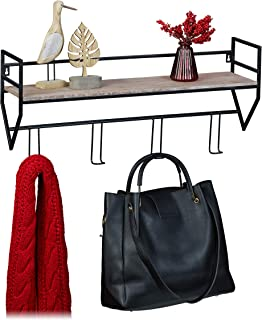 Relaxdays 衣帽架,带架子,4 个挂钩,金属,木质外观,墙壁衣柜 高宽深:31 x 66 x 16 厘米,黑棕色