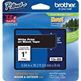 Brother 兄弟 P-touch TZE-355 胶带, 1 英寸(2.4 厘米)宽标准层压胶带,黑色白色贴在黑色…