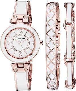 Anne Klein 女士 AK/3296BKST 施华洛世奇水晶 金色和黑色手镯手表和手镯套装