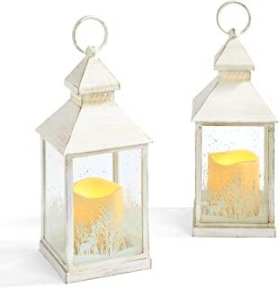 圣诞蜡烛灯套装 - 22.86 厘米装饰灯笼带 LED 无焰蜡烛,白色做旧饰面,电池供电,定时设置,农舍假日装饰 - 2 件套