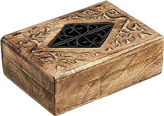 手工制作传统木制首饰盒 - 天然木艺术便携式珍宝收纳盒 - 装饰性木制存储盒 单隔层 适合女士男士珠宝 - 礼品戒指 饰品黄金