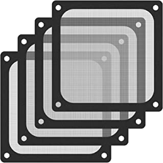 140 毫米风扇防尘过滤器网眼磁性框架 PVC 电脑机箱风扇防尘过滤器盖烧烤黑色 4 件装