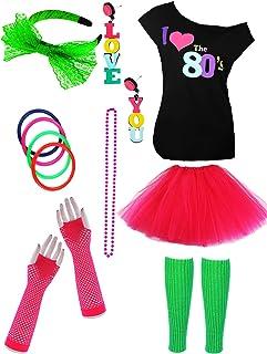 Jetec 80 年代服装配饰套装 I Love 80 年代裙子项链手镯暖腿套耳环手套 T 恤 适用于派对配饰