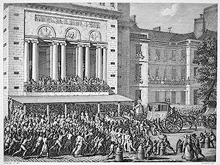 法国革命 1789 年 7 月 12 日佛里斯力量歌剧院关闭歌剧家 1789 年 7 月 12 日当代法国雕刻,由 Jean-Louis Prieur 海报印刷品 (45.72 x 60.96 cm)