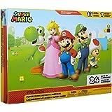 Nintendo 任天堂 降临日历,马里奥圣诞节倒数日历,带有17个铰接的2.5英寸(约6.35厘米)动作人偶和7个配件…