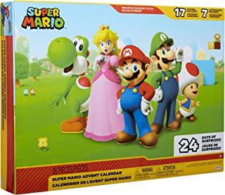 Nintendo 任天堂 圣诞日历 超级马里奥 圣诞假期日历,含 17件2.5英寸(约6.35厘米)关节可活动人偶和7件配件, 24天倒数,弹出式环境