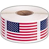 美国国旗贴纸美国国旗 - 每卷 500-3.18 cm X 5.72 cm 爱国者标签 Kenco 出品 1包