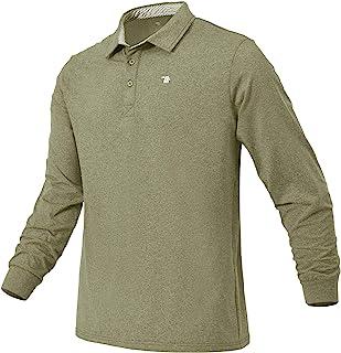 BGOWATU 男式长袖 Polo 衫 薄羊毛衬里 高尔夫网球衫 常规版型 健身 衬衫 速干