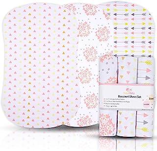 女婴摇篮床单,3 件装,针织棉摇篮床笠,长方形、椭圆形或沙漏式摇篮床床垫