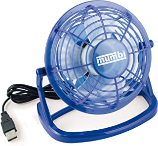 mumbi USB 风扇 - 迷你 USB 风扇 适用于书桌 带开/关开关 蓝色