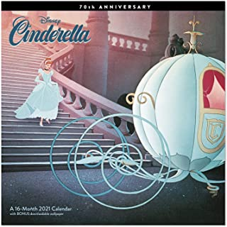 2021 Disney 灰姑娘 70 周年挂历,12 英寸 x 12 英寸,每月(DDW34828)