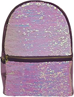 iscream 女童虹色双面翻盖亮片 45.72 cm x 30.48 cm 背包适用于上学和旅行,带内部笔记本电脑口袋