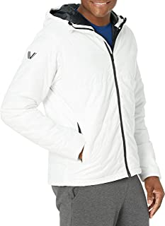 Peak Velocity Men's Insulated Hoodie Athletic-Fit Jacket, White, Medium