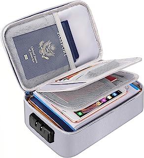 ENGPOW 小型防火文件收纳盒带锁(9.4 x 5.9 x 3.2 英寸,约 23.9 x 15.0 x 8.1 厘米),3 层现金*袋存放现金、卡、护照、支票、钱币、旅行家庭收纳手提箱