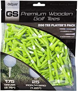 GoSports 2.75 英寸(约 7.0 厘米)优质木制高尔夫球座 - 200 个球座运动员包,配有驾驶员和铁/混合 T 恤,选择您的球座