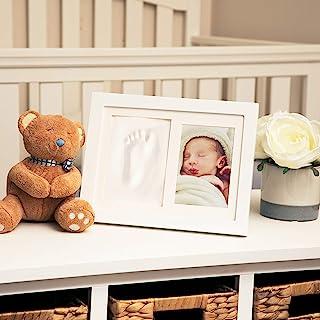 Nuby Baby 纪念品经典白色木制墙饰框架,可装 1 张 8.89 x 12.70 厘米的照片和 1 个粘土打印套件,适合新生女孩和男孩,个性化婴儿礼物