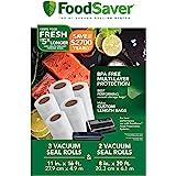 FoodSaver 真空密封卷 多件装   定制尺寸 不含双酚 A 的真空密封袋 8 英寸(约 20.32厘米)和 11…