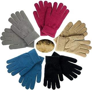 GOLEDLF 5 双保暖魔术手套青少年冬季弹性针织手套男孩女孩针织手套